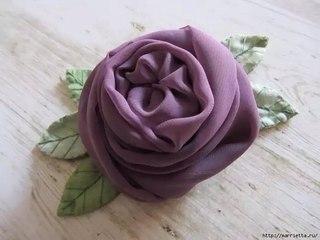 заколки своими руками - роза из шифона