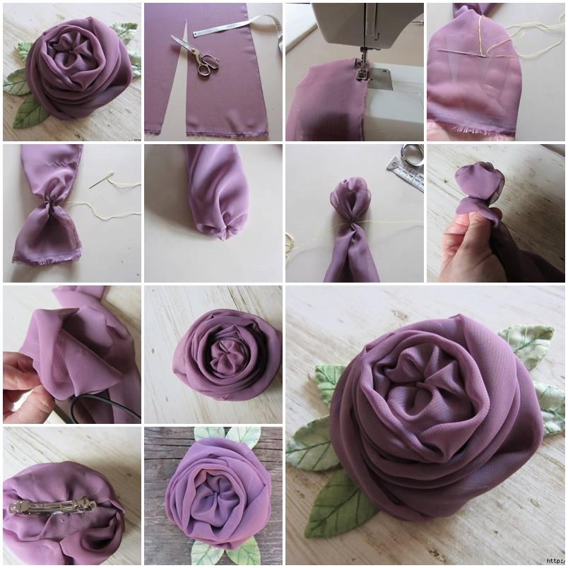 "на фото ""Роза из шифона"" изготовленная своими руками"