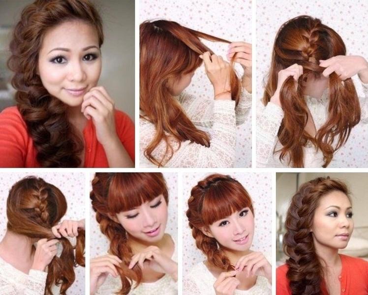 Как сделать прическу на бок из длинных волос