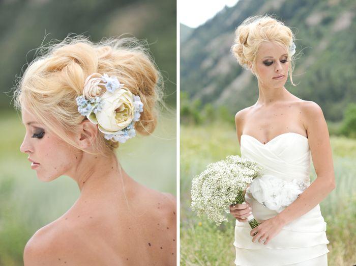 свадебные прически с искусственными и живыми цветами весна-лето 2017, фото 1