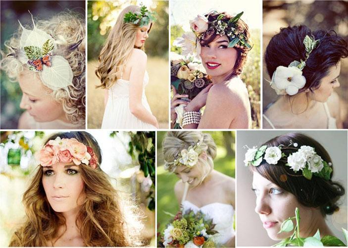 свадебные прически с искусственными и живыми цветами весна-лето 2017, фото 3