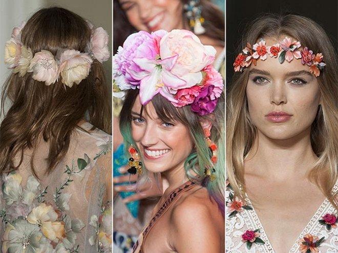модные прически с цветами сезона весна-лето 2017, фото 3