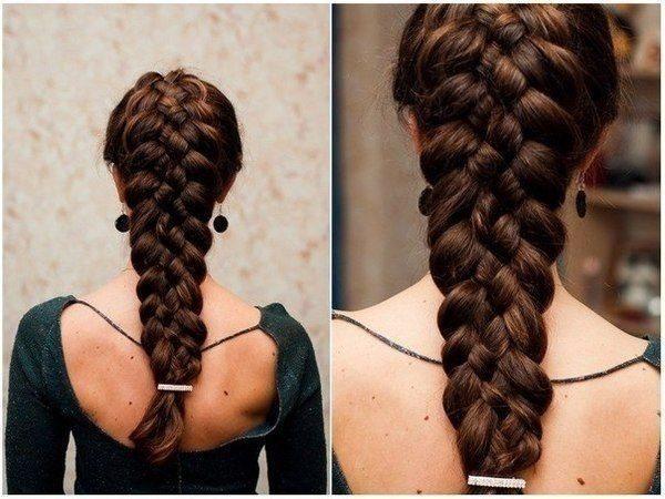 одные и красивые косы из четырех (4) прядей, фото 2