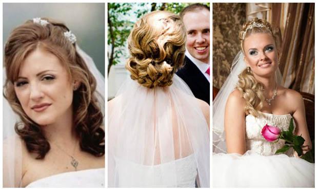 свадебные прически 2017 с короткой фатой, фото 2