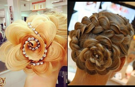 плетение кос с розой