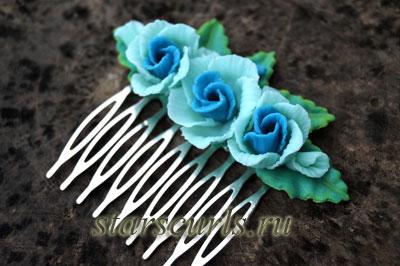 гребень для волос с розами из полимерной глины