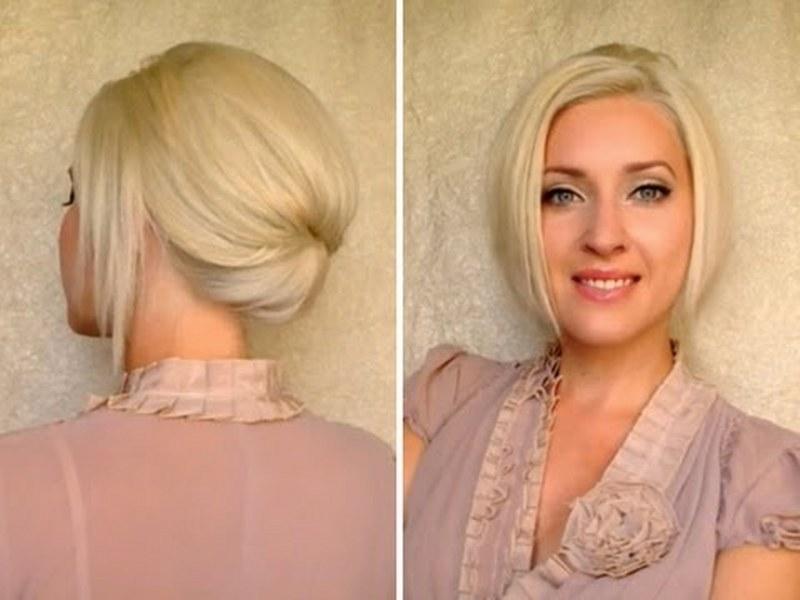 Причёски для офиса на средние волосы фото в домашних условиях