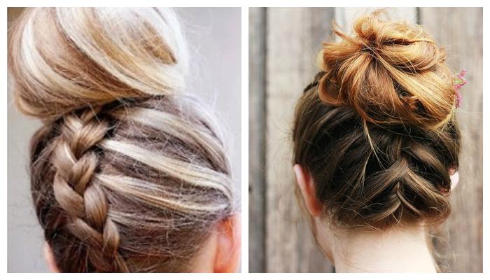 пучок из волос на основе кос (плетений)