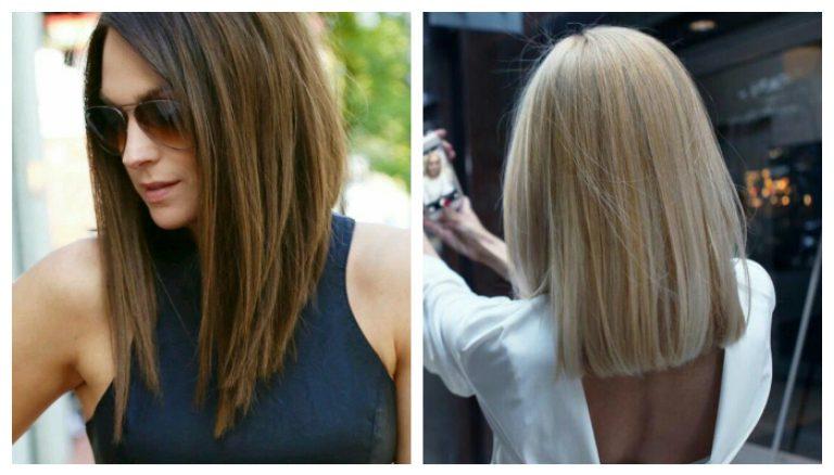 Стрижки с прямым срезом на средние волосы