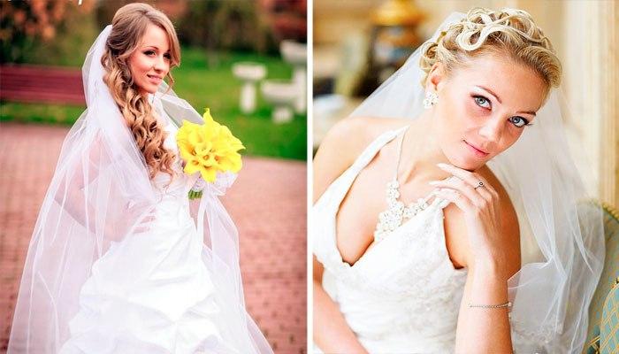 модные свадебные прически с фатой весна-лето 2017, фото новинки 1