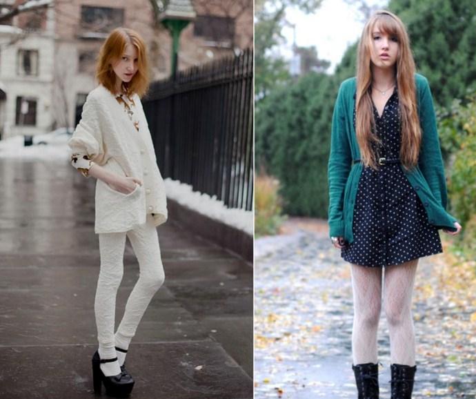 Модный тренд - белые колготки