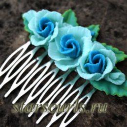Гребень для волос с розами из полимерной глины, мастер-класс своими руками
